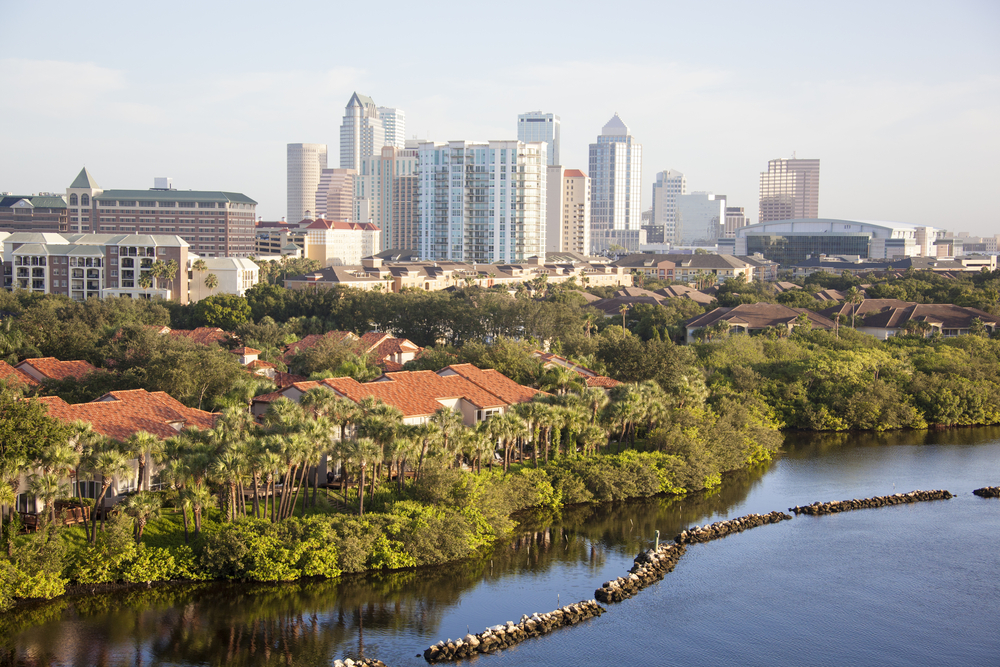 This picture shows Tampa, one of the cities where you can afford to retire by 40, according to Redfin.